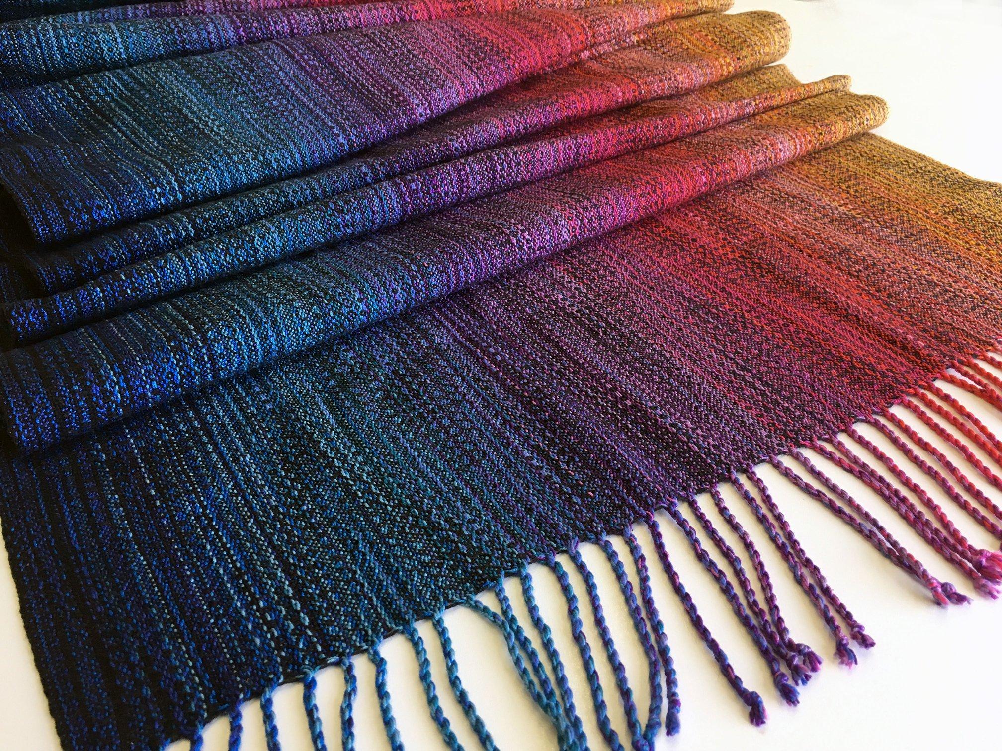 Rainbow cloud crackle weave Aurora Wrap (hemp) Image